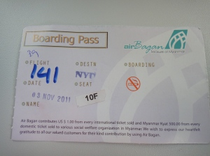My hand-written, stamped boarding pass... with my name nowhere to be found on it.