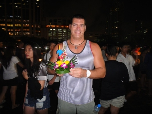 Me getting ready to set my Loy Krathong afloat