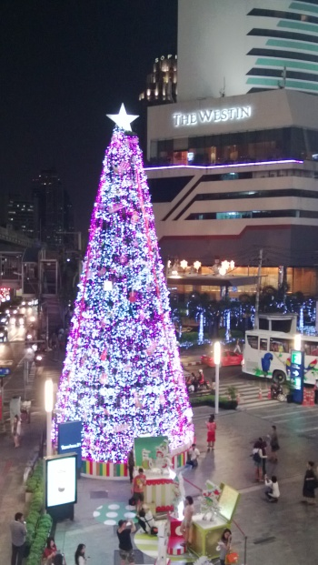 Large Christmas tree display outside Terminal 21 mall