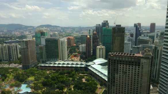 View of KL from the skybridge of the Petronas Towers
