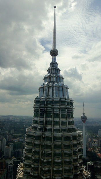View of the top and spire of one of the towers.