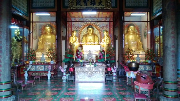 Buddha images in one of the temples. The Buddhas were donated to the temple by the current King of Thailand.