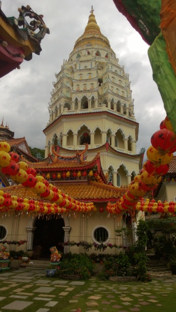 One of the pagodas at the temple complex. Architecturally, the pagoda design is Burmese at the top, Thai in the middle, and Chinese at the bottom.