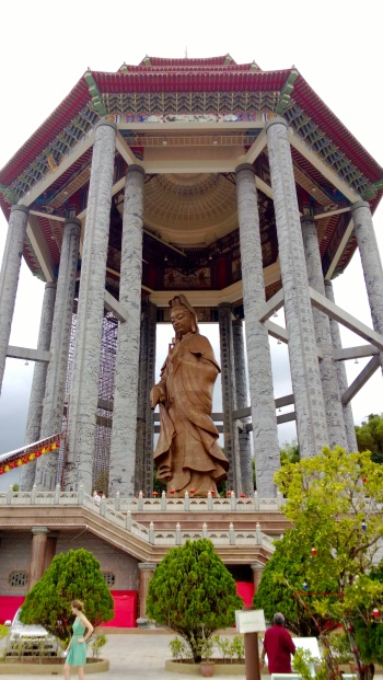 36.5m high statue of Kuan Yin, goddess of mercy, at the top of the temple.