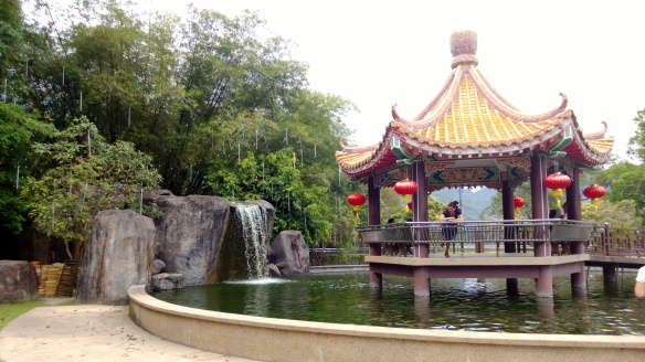 Pagoda, pond and waterfall at the top of the temple.