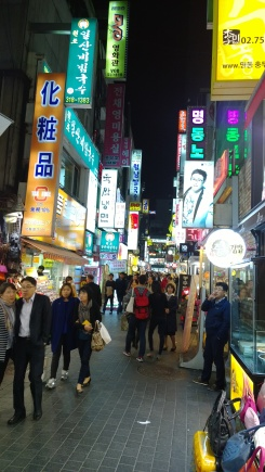 In the shopping area of Meyeong-dong