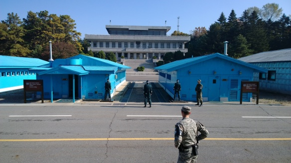 Looking across the JSA to the North Korea side.