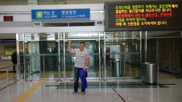 At the train station, waiting for the train to Pyeongyang