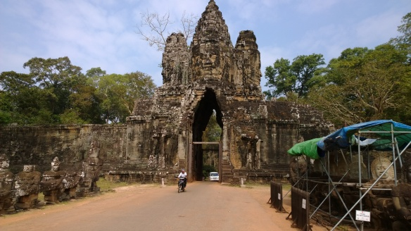Stone entrance arch/gate to Angkor complex of temples.