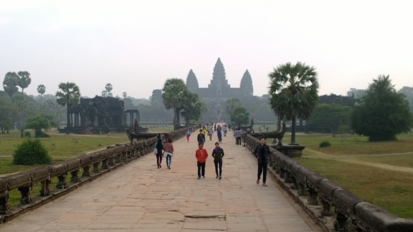 The long, stone walkway leading up to Angkor Wat.  Hard to describe the feeling you get as you walk towards that massive, imposing temple in front of you.
