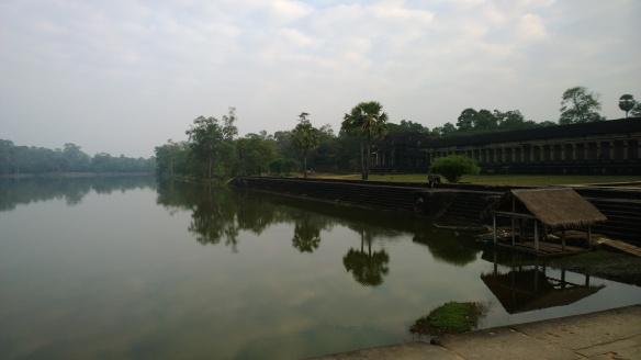 The huge moat that surrounds the Angkor Wat temple.  The moat is 200 meters wide, and 5.5km total length around the complex.
