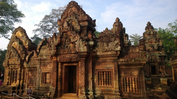 Banteay Srey temple, about 40km away from the main Angkor complex.  The stones here are more of a pink-colored sandstone, giving the temples a stunning color in the sun.