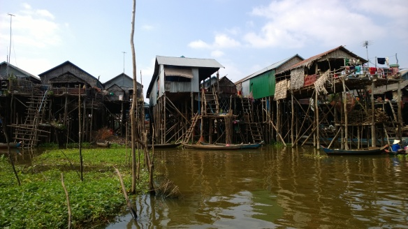 A fishing village on Tonle Sap lake where homes are built on stilts high above the lake.  During the rainy season, the lake fills so the homes are just above the level of the lake.