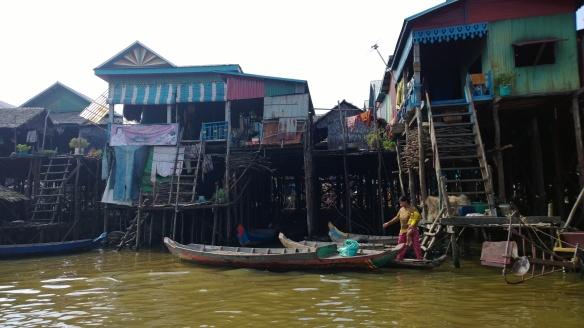 More fishing village homes on Tonle Sap lake.