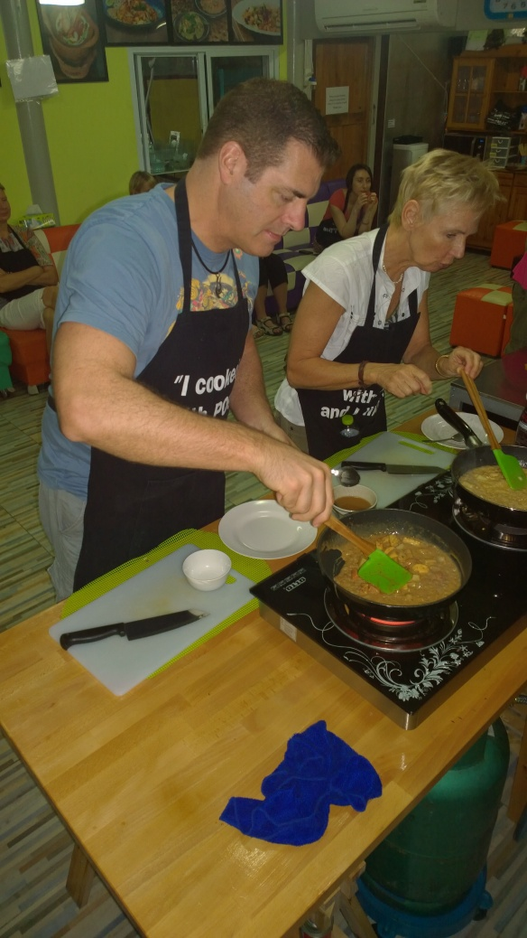 Me cooking up a tasty Massaman curry.