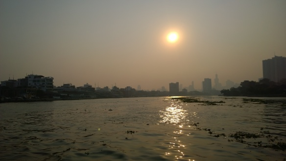 Sunrise as we cross the Chao Phraya River