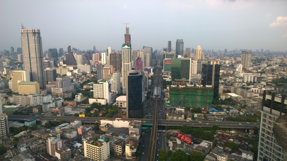 From the top of the building, looking down Sathorn Road
